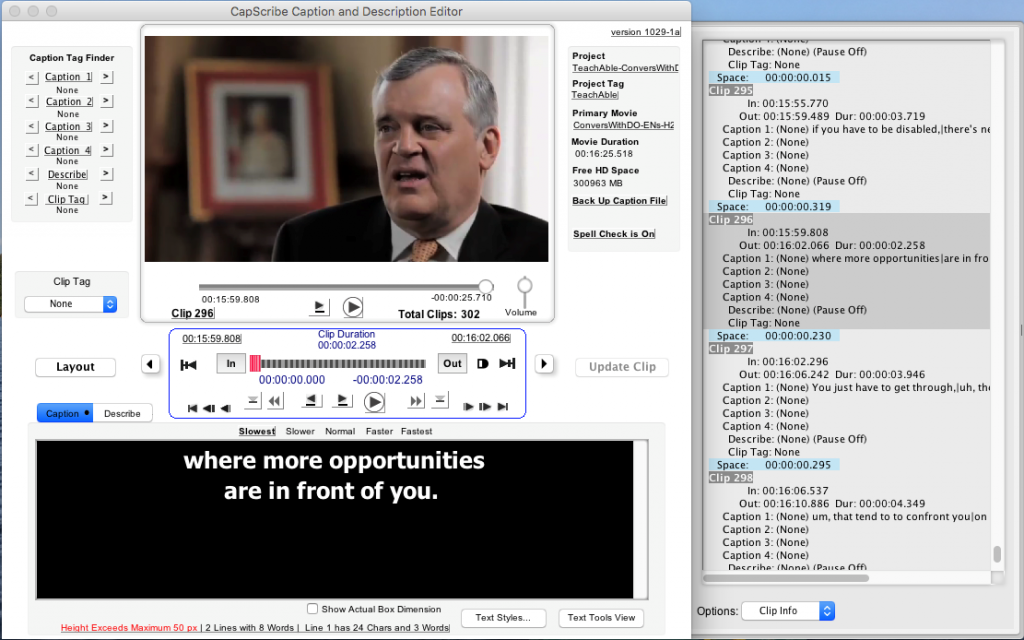 Image of original CapScribe caption editor with a video still of David Only, captioned text, and time frames.