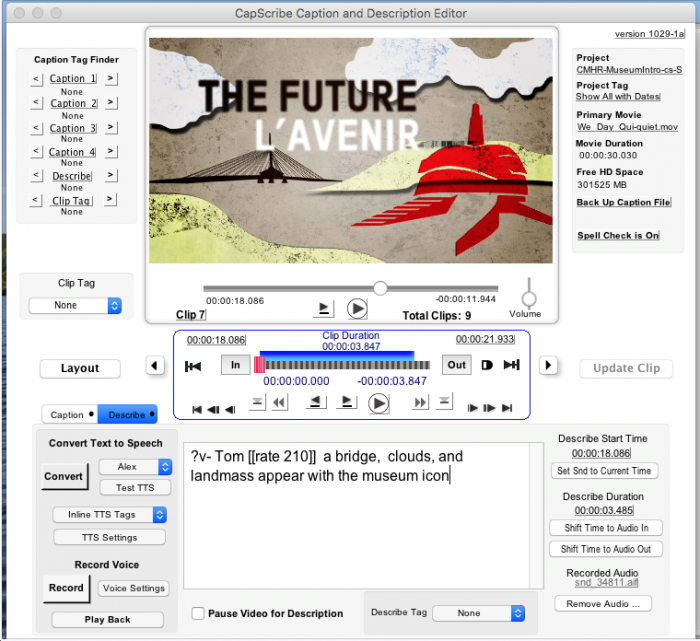 Screenshot of CapScribe's Described Video editor with clips and time frames.